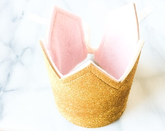 Pink and Gold Birthday Crown, First Birthday Crown, Dress Up crown, Photo Prop, Cake Smash, Glitter Crown, Princess Crown