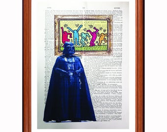 Darth Vader vs Keith Haring - dictionary art print home decor present gift Star Wars