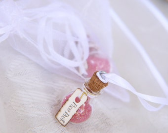 Pixie Dust Vial necklaces with mesh bag // Fairy party favors // Fairy party supplies