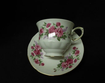 Vintage Queen Anne Teacup and Saucer Bone China Made in England Pink Roses Motif