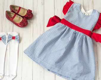 Dorothy Gale Dress. Dorothy Costume. Wizard of Oz Dress.  Dorothy Dress. Toddler Dress. Toddler Costume. Dress Up. Birthday Outfit. Gift.