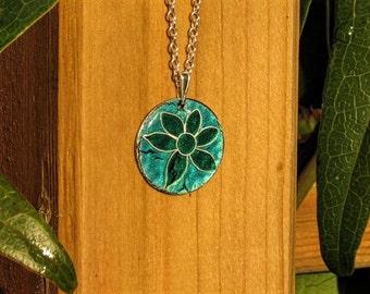 Turquoise flower pendant necklace copper enamel silver Cloisonne blue green