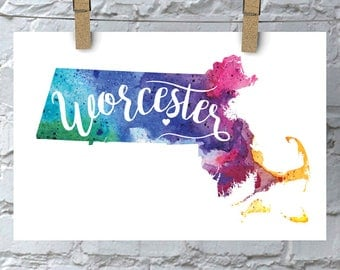 Custom Massachusetts Map Art, MA Watercolor Heart Map Home Decor, Worcester or Your City Hand Lettering, Personalized Giclee Print, 5 Colors