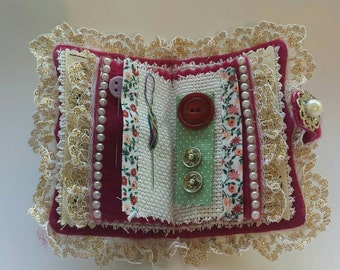 Vintage style needlebook with lace and pearls (contents are included)