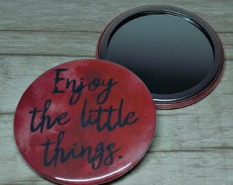 Pocket Mirror | Enjoy The Little Things | Red Hand Mirror | Watercolour Art | Gift Idea Party Favour
