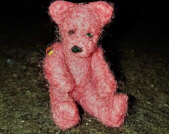Needle Felted Pink matchbox Teddy Bear ooak