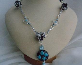 Jewelry Choker, nespresso, nespresso, friend gift, blue and black heart pendant,