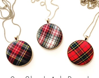 Holiday Plaid Pendant Necklace