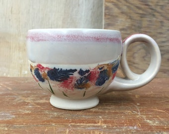 Porcelain Wildflower Sunset Espresso Macchiato Cortado Cup - Handmade Wheel Thrown Pottery Coffee Tea Cup 4 oz
