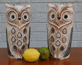 Vintage Pair Ceramic Hanging Owl Lanterns Camdle holders by Counterpoint San Francisco 70's