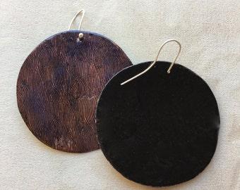 Enamel Circle Earrings