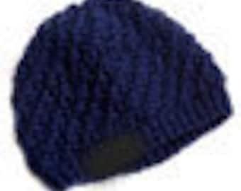 Beanie Blue beanie hat slouch beanie knit hat navy blue hat soft warm knitted hat