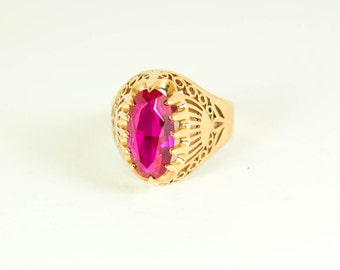 Vintage 14k Gold Ring with Ruby from USSR, stamped 583 gold