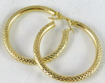 Gold Hoop Earrings, Vintage 14K Gold Diamond Cut Hoop Earrings, Classic Gold Hoop Earrings