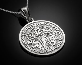 Sterling Silver Irish Blessing Celtic Cross Reversible Necklace