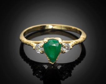 10k Gold Emerald w/ Topaz Stackable Promise Ring (yellow, white, rose gold)