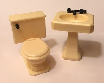 Renwal Ivory Bathroom Sink & Toilet vintage Dollhouse Miniature Furniture 1:16 plastic