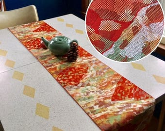 """Table Runner made from a Vintage Japanese Obi Belt """"Flowing Collage"""""""