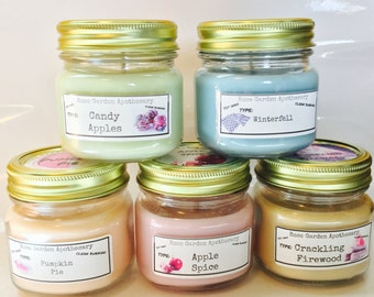 Candle Value Sets> 8oz Half Pint Jar Candles>Choose your favorites>Halloween/Christmas Candles>Sugar Cookie> Mason Jar Candle w/Wood Wick