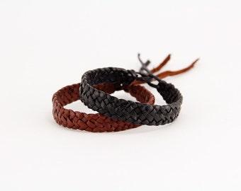 Leather bracelet, Black and Brown leather bracelet