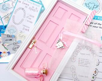 Tooth Fairy Door Kit, Baby Pink, Tooth Fairy Receipts, Fairy Door, Tooth Fairy, Pink Fairy Door, Pink Fairy, Fairies, Tooth Fairy Pink