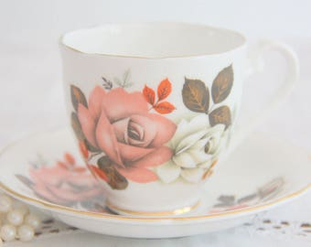 Vintage Royal Grafton Fine Bone China Cup and Saucer, Rose Decor, Numbered