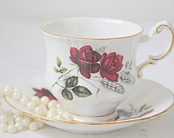 Vintage Paragon Bone China Cup and Saucer, Red Rose Decor, England