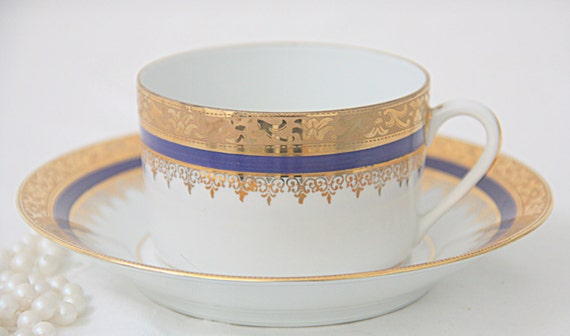 RESERVED FOR TAYLOR Beautiful Antique Limoges French Porcelain Cup and Saucer with Gold Gilded Decor, France
