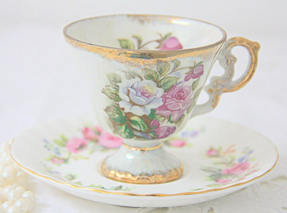 Mismatched Vintage Porcelain Footed Demitasse Cup and Saucer, Pink Rose Decor, Royal Albert Moss Rose