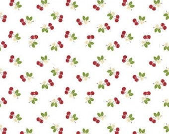 Sew 2 Cherry on White - Sold by the Half Yard