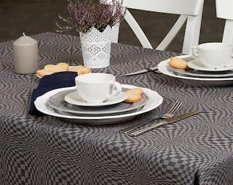 Christmas Linen Tablecloth, Dark Blue, Grey linen table top, Linen table cover, Christmas Tablecloth