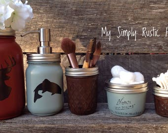 Deer Jar Decor-fish jar-Cabin Decor-Mason jar bathroom set-mason jars-farmhouse decor-rustic bathroom set-soapdispenser-housewarming gift