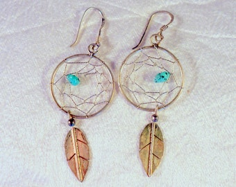 Dream Catcher Earrings In Sterling Silver With Small Turquoise Southwestern Jewelry Gift For Her