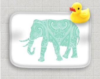 Bath Mat Mint Green Elephant Mandala India Indian Boho Bohemian Design Bath Rug Home Decor