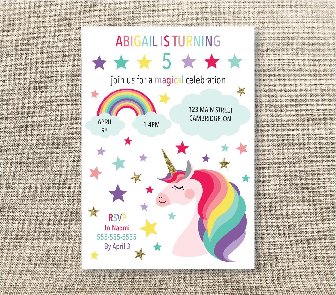 einhorn unicorn einladung zur geburtstagsfeier einladung