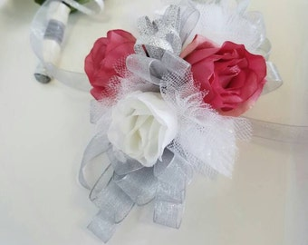 Prom Corsage Set Pink and Silver Wrist Corsage and Matching Boutonniere ON SALE