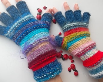 HAND KNITTED GLOVES / Half Fingers Mittens Cabled Multicolored Gift Arm Women / Warm Accessories Elegant Feminine Wrist Warmers Winter 1251