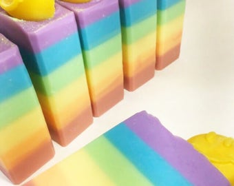 RAINBOW SOAP Handmade Soap Bath and Body Gift For Her Vanilla Lavender Soap Unique Gift Idea Shea Butter Genesis 9 12 Tranquility Mountain