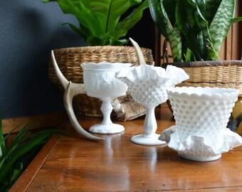 Vintage Hobnail Milk Glass | Four Piece Lot | Hobnail Milk Glass Planter - Candy Dish - Planters | Fenton Hobnail Milk Glass | Wedding Decor