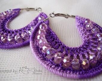 Crochet hoops, Crochet earrings, Purple earrings, Beaded earrings, Handmade jewelry, Lavender earrings, Crochet hoop earrings, Boho style