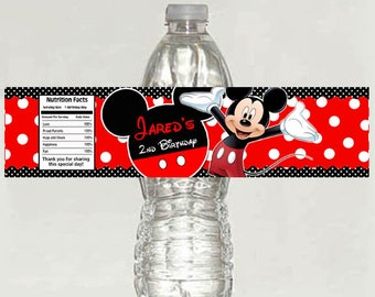 Mickey Mouse red polka dots Birthday water bottle label - Printable