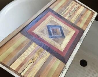 Wood Bath Tray / Bath Caddy / Bath tub Tray/ Pattern Bathtub Tray / Wood Bathtub Tray/ Bath Tray, Square Pattern. Wedding gift