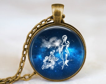 Virgo Zodiac Sign Constellation - Handmade Pendant Necklace