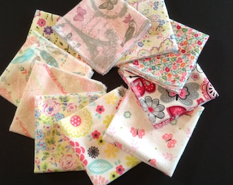 Ladies Handkerchiefs,Set of 10, Mixed Prints,Modern,Flannel Handkerchiefs,Reusable Tissues,Paperless Hankies,Womens Handkerchief WH812