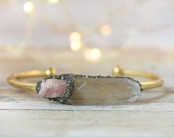 Tourmaline Jewelry - Raw Pink Tourmaline - Pink Tourmaline Bracelet - Mother's Day Gift - Chakra Stone Bracelet - Rough Stone Bracelet