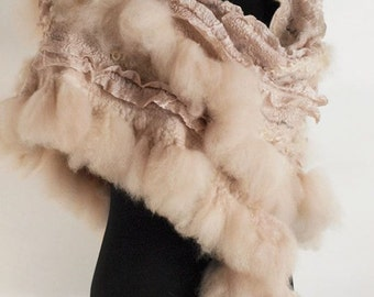 Cream Pink Beige Boho Gray Fashion wool nuno felted shawl wrap. OOAK. Vintage Warm beautiful Wool silk stole. Gift for her
