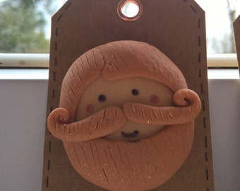 Bearded Man Fimo Brooch great gift for the man in your life or beard lover!