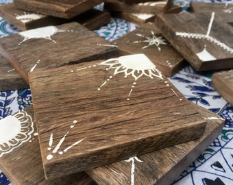 Boho recycled timber coasters