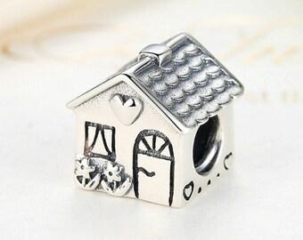 Sterling 925 silver charm the house bead pendant fits European charm bracelet