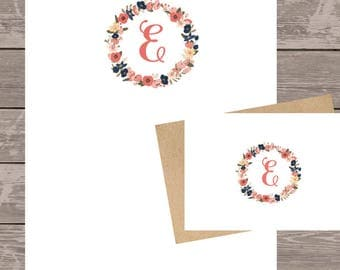 Personalized note card set, writing pad set, floral note pad/writing pad/custom note card set